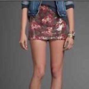 Abercrombie Print Rose Sequin Miniskirt